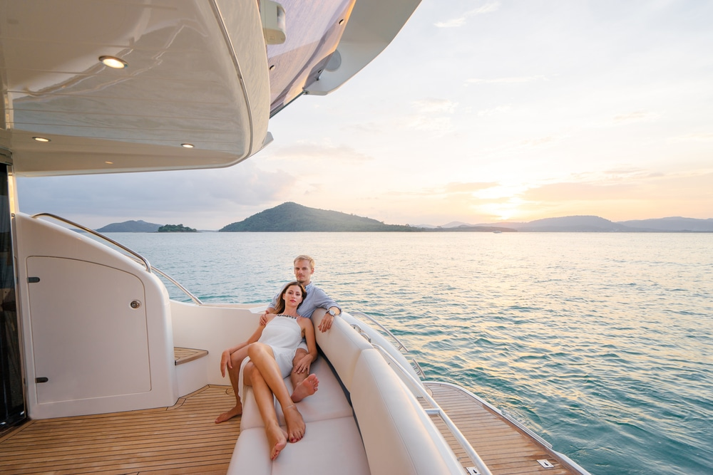 Couple on luxury yacht